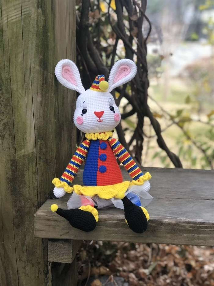 Knitted woolen grey rabbit dollnum
